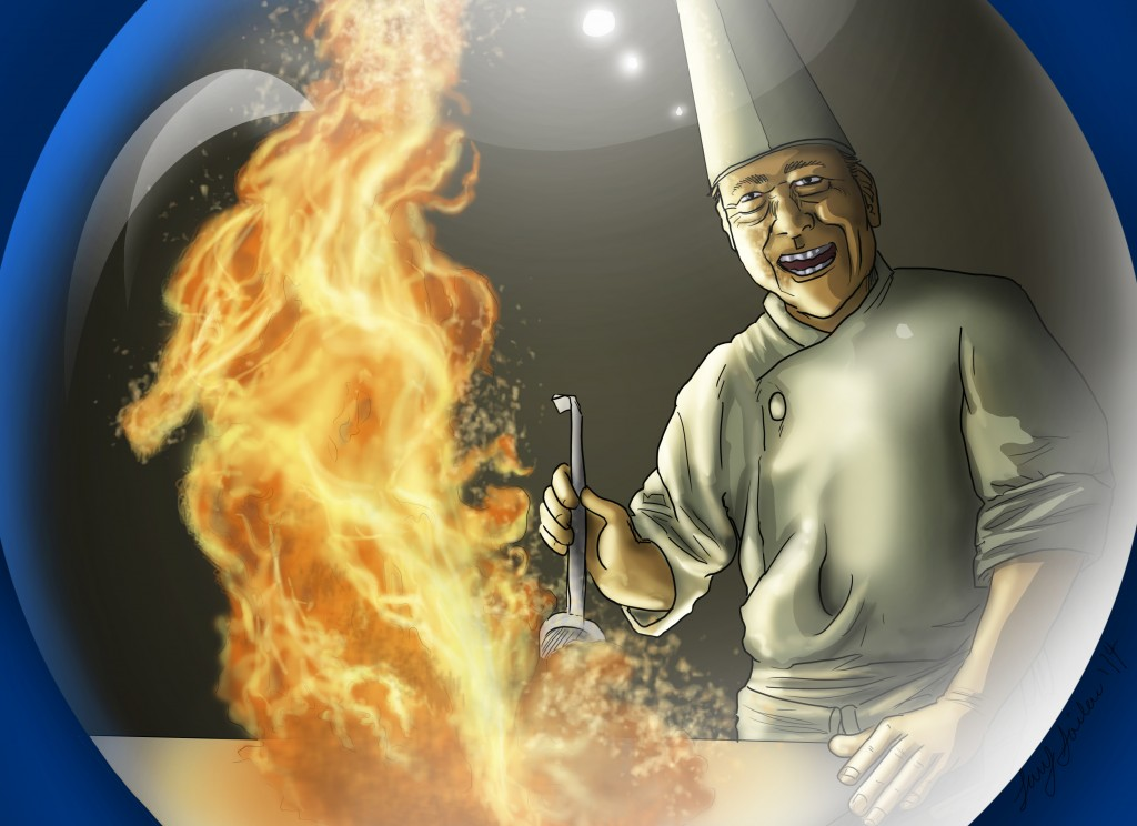 Chef and Flames in Crystal Ball